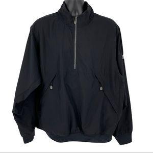 Adidas Windbreaker Pullover 1/2 Zip Jacket Black Large